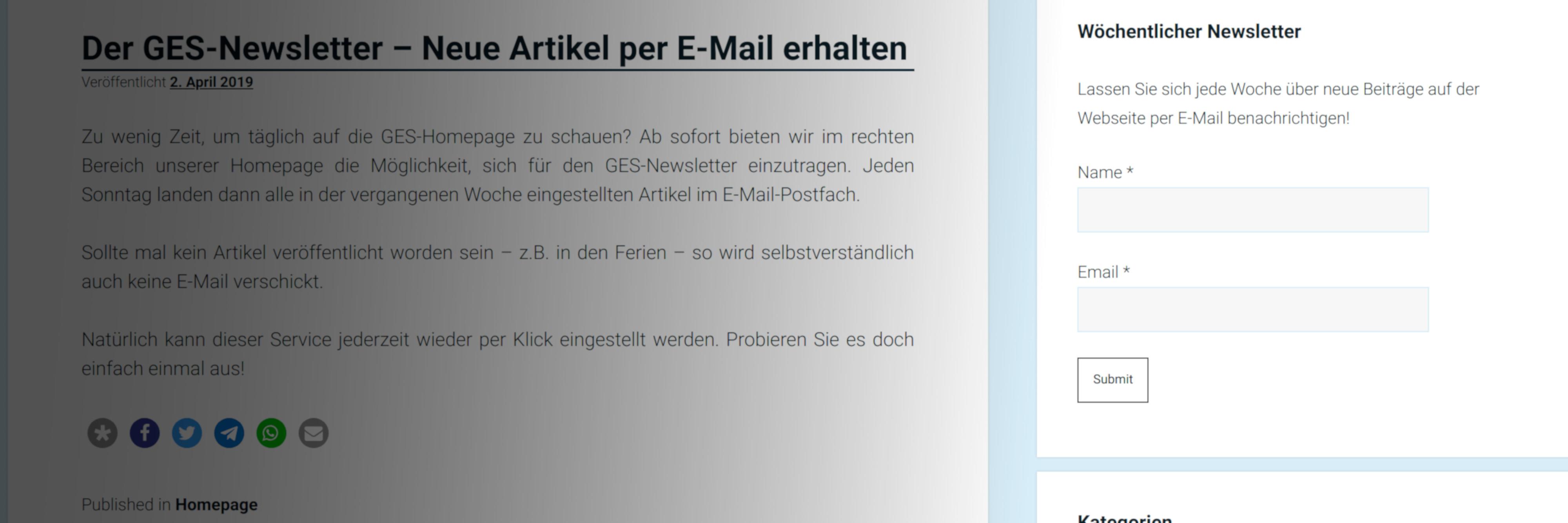 Suche nach Webseiten per E-Mail
